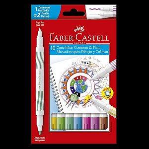 Canetinha Hidrocor Contorna E Pinta 10 Cores Faber Castell