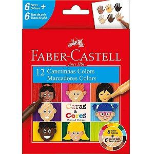 Canetinha Hidrocor Caras E Cores 12 Cores Faber Castell