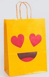 Sacola Papel Emoticons Amarelo G 32X26,5X13Cm Cromus