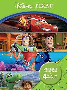 Livro Atividades Educativas + 4 Quebra Cabeça Disney Pixar Rideel