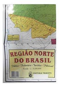Mapa Regiao Norte Do Brasil Escolar Politico 120X90Cm Multimapas