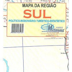 Mapa Regiao Sul Escolar Politico E Rodoviario 120X90Cm Multimapas
