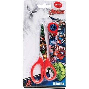 Tesoura Escolar C/Protetor Avengers Molin