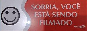 Placa De Sinalização 20X7Cm Sorria Voce Está Sendo Filmado Emplac