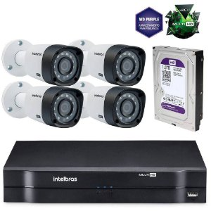 KIt 4 Cameras INTELBRAS 720P DVR Multi Mhdx e HD WD Purple 1 TB