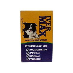 IVER MAX Controle de Pulgas, Carrapatos, Verme e Sarnas - 4 Comprimidos