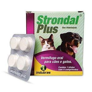 Strondal Plus Vermifugo Cães e Gatos cartela 4 comprimidos