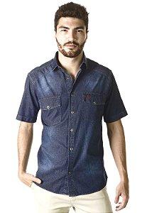 Camisa Jeans 5OZ - Manga Curta  Tradicional - 100% algodão
