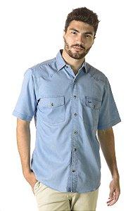 Camisa Jeans Azul Claro - Manga Curta Tradicional | Algodão 76% Poliester 24%