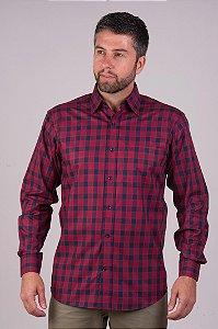 Camisa Vermelha Xadrez - Manga Longa Tradicional | Fio 60