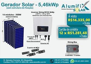 Gerador Fotovoltaico com inversor On-grid de 5,46kWp com inversor Deye SUN5k/220Vca