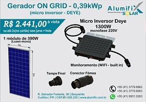 Gerador Fotovoltaico de 0,39kWp com microinversor DEYE SUN1300G2 e um módulo de 390Wp Luxen/DAH/Osda