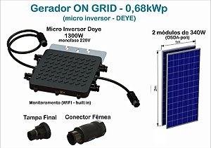 Gerador Fotovoltaico de 0,68kWp com microinversor DEYE SUN1300G2 e 2(dois) módulos de 340W