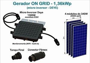 Gerador Fotovoltaico de 1,36kWp com microinversor DEYE SUN1300G2 e 4(quatro) módulos de 340W