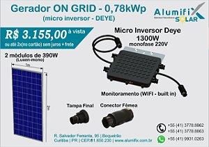 Gerador Fotovoltaico DE 0,78kWp com microinversor DEYE SUN1300G2 e 2(dois) módulos de 390Wp Luxen/DAH/Osda