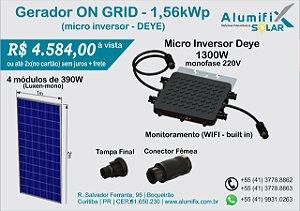 Gerador Fotovoltaico de 1,56kWp com microinversor DEYE SUN1300G2 e 4(quatro) módulos de 390Wp Luxen/DAH/Osda
