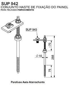 Conjunto Haste de fixação para telhado em fibrocimento SUP942