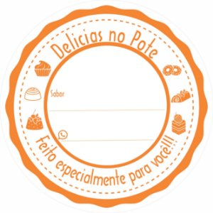 -Etiqueta Delicias no pote Laranja c/500 5x5 cm