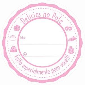 -Etiqueta Delicias no pote Rosa c/500 5x5 cm