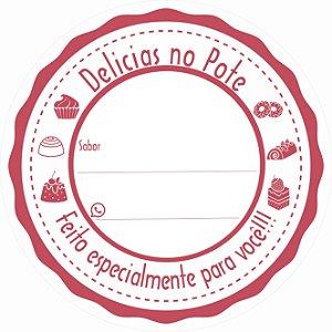 -Etiqueta Delicias no pote Vermelho c/500 5x5 cm