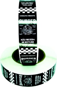 -Lacre para Delivery 7x3 Burguer Rolo c/1000 Preto