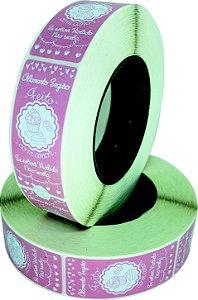 -Lacre para Delivery 7x3 Confeitaria Rolo c/1000 Rosa