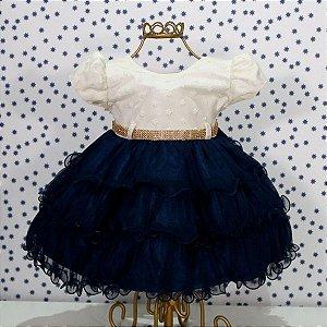 Vestido manga curta bebe bege e marinho