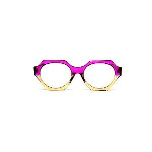 Armação para óculos de Grau Gustavo Eyewear G72 2. Cor: Violeta translúcido e âmbar. Haste violeta.