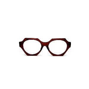Armação para óculos de Grau Gustavo Eyewear G72 3. Cor: Marrom translúcido. Haste animal print.