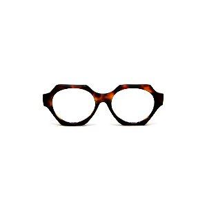 Armação para óculos de Grau Gustavo Eyewear G72 5. Cor: Animal print e preto. Haste animal print.