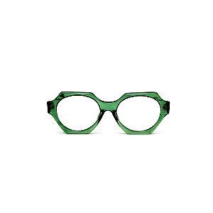 Armação para óculos de Grau Gustavo Eyewear G72 7. Cor: Verde translúcido. Haste animal print.
