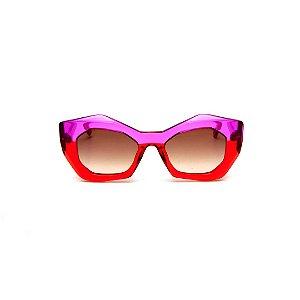 Óculos de sol Gustavo Eyewear G108 1. Cor: Vermelho e violeta translúcido. Haste violeta. Lentes marrom.