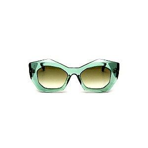 Óculos de Sol Gustavo Eyewear G108 6. Cor: Verde translúcido. Haste preta. Lentes verdes.