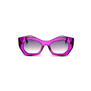 Óculos de Sol Gustavo Eyewear G108 8. Cor: Azul translúcido. Haste animal print. Lentes cinza.