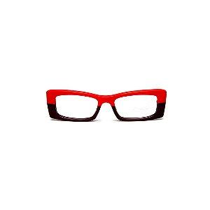 Armação para óculos de Grau Gustavo Eyewear G35 2. Cor: Vermelho e marrom opaco. Haste animal print.