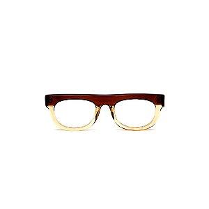Armação para óculos de Grau Gustavo Eyewear G14 2. Cor: Marrom e âmbar translúcido. Haste marrom.