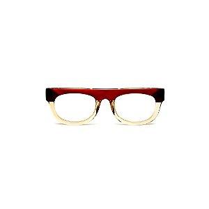 Armação para óculos de Grau Gustavo Eyewear G14 3. Cor: Vermelho, marrom e âmbar translúcido. Haste animal print.