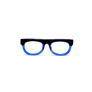 Armação para óculos de Grau Gustavo Eyewear G14 4. Cor: Preto e azul translúcido. Haste preta.