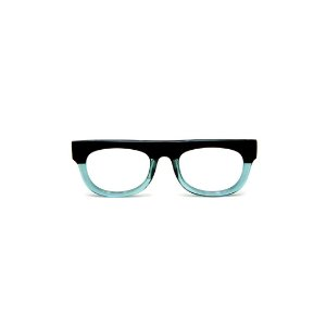 Armação para óculos de Grau Gustavo Eyewear G14 6. Cor: Preto e acqua translúcido. Haste preta.