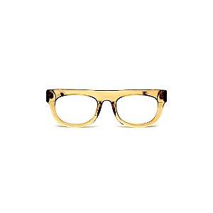 Armação para óculos de Grau Gustavo Eyewear G14 10. Cor: Âmbar translúcido. Haste animal print.