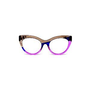 Armação para óculos de Grau Gustavo Eyewear G65 17. Cor: Fumê, azul e violeta translúcido. Haste preta.