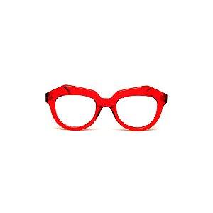 Armação para óculos de Grau Gustavo Eyewear G37 101. Cor: Vermelho translúcido. Haste animal print.