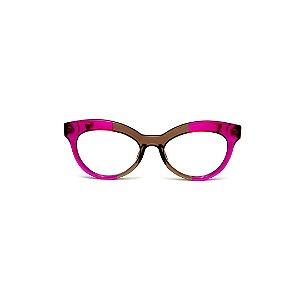 Armação para óculos de Grau Gustavo Eyewear G38 1. Cor: Violeta e fumê translúcido. Haste violeta.