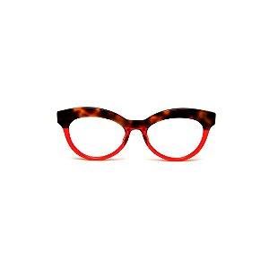 Armação para óculos de Grau Gustavo Eyewear G38 4. Cor: Animal print e vermelho translúcido. Haste animal print.