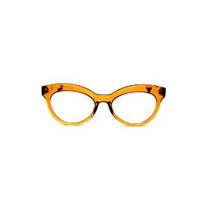 Armação para óculos de Grau Gustavo Eyewear G38 6. Cor: Caramelo translúcido. Haste animal print.