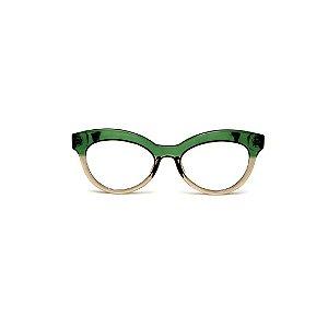 Armação para óculos de Grau Gustavo Eyewear G38 8. Cor: Verde e fumê translúcido. Haste verde.