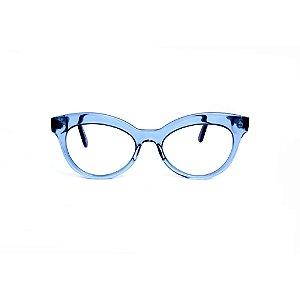 Armação para óculos de Grau Gustavo Eyewear G38 9. Cor: Acqua translúcido. Haste preta.