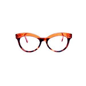 Armação para óculos de Grau Gustavo Eyewear G38 12. Cor: Animal print e laranja translúcido. Haste laranja,