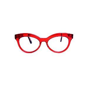 Armação para óculos de Grau Gustavo Eyewear G38 14. Cor: Vermelho translúcido. Haste animal print.