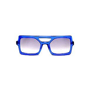 Óculos de Sol Gustavo Eyewear G114 1. Cor: Azul translúcido. Haste preta. Lentes cinza.